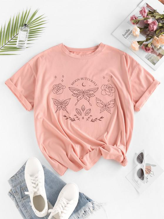 new ZAFUL Moon Butterfly Print Drop Shoulder Oversized T Shirt - LIGHT PINK M