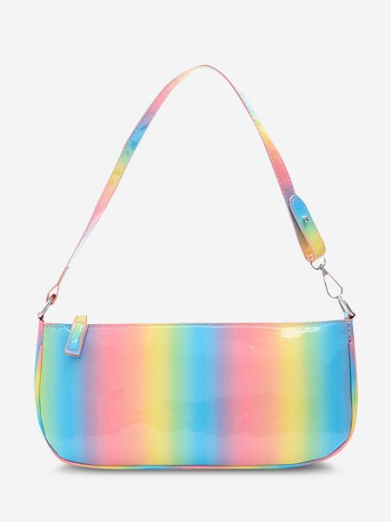 Colorful Faux Patent Leather Shoulder Bag - رائع
