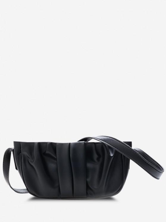 Solid Ruched Faux Leather Shoulder Bag - أسود
