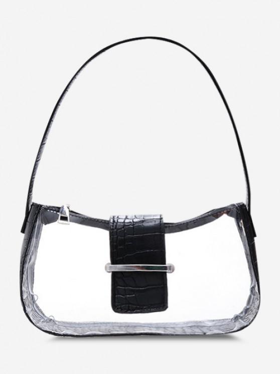 Transparent Spliced Embossed Belt Shoulder Bag - أسود