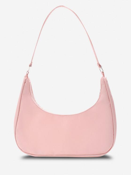 Minimalistic Solid Curved Nylon Shoulder Bag - زهري