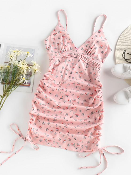 fashion ZAFUL Ditsy Floral Ruched Pintuck Cami Dress - LIGHT PINK S