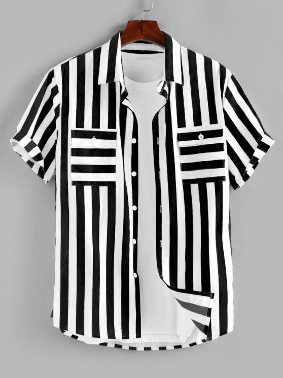 online ZAFUL Stripe Print Double Pockets Shirt - BLACK L
