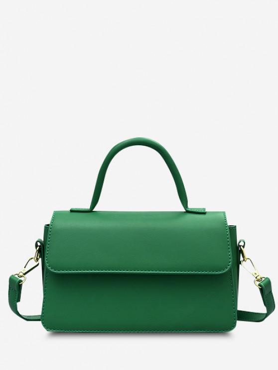 Minimalistic Top Handle Flap Crossbody Bag - شامروك أخضر