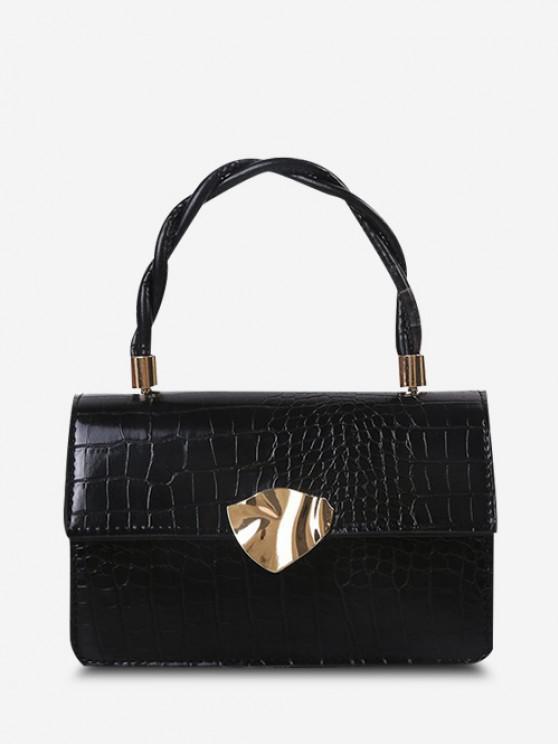 Embossed Twist Handle Chain Flap Crossbody Bag - أسود