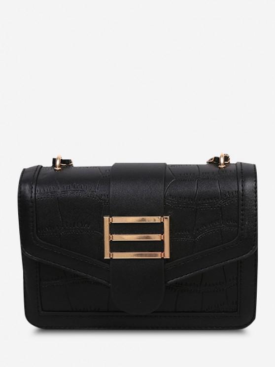 Embossed Adjustable Strap Flap Shoulder Bag - أسود