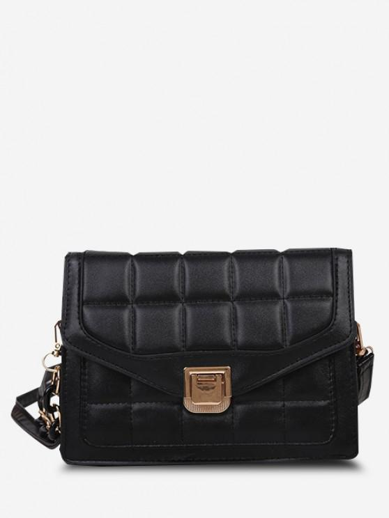 Quilted Double Strap Flap Crossbody Bag - أسود