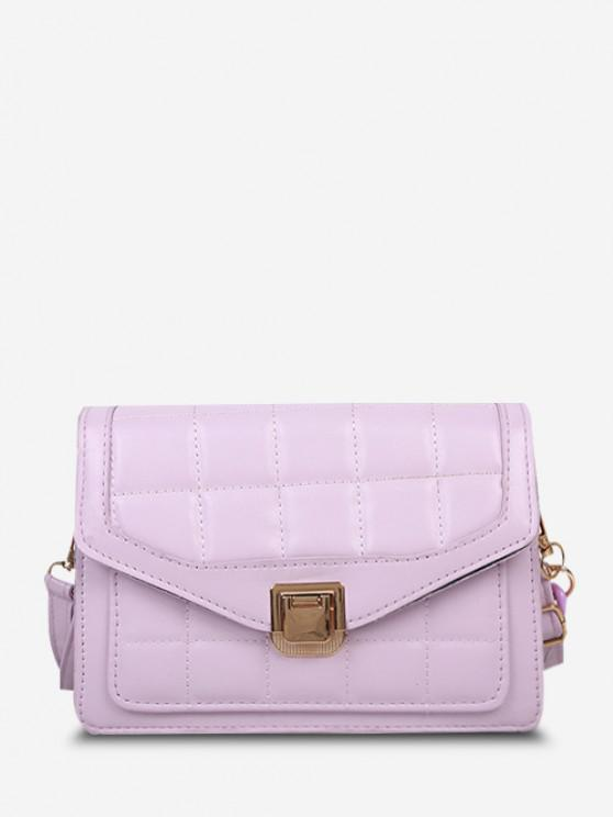 chic Quilted Double Strap Flap Crossbody Bag - MAUVE