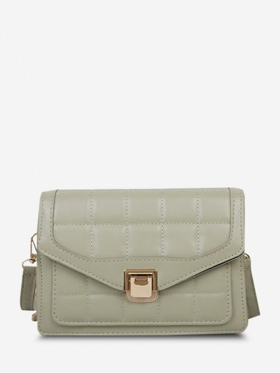 fancy Quilted Double Strap Flap Crossbody Bag - DARK SEA GREEN