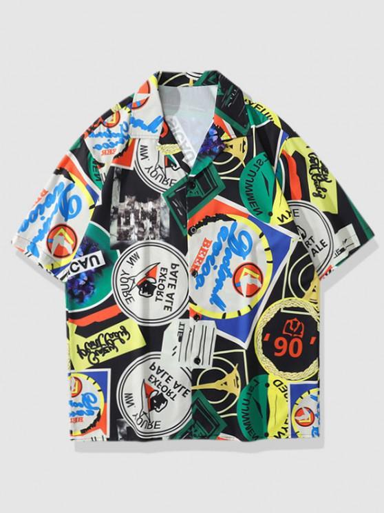 fashion Label Butterfly Vintage Print Shirt - MEDIUM SEA GREEN L