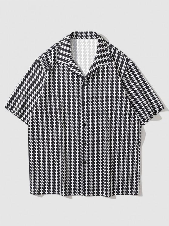 new Short Sleeve Allover Print Shirt - BLACK L