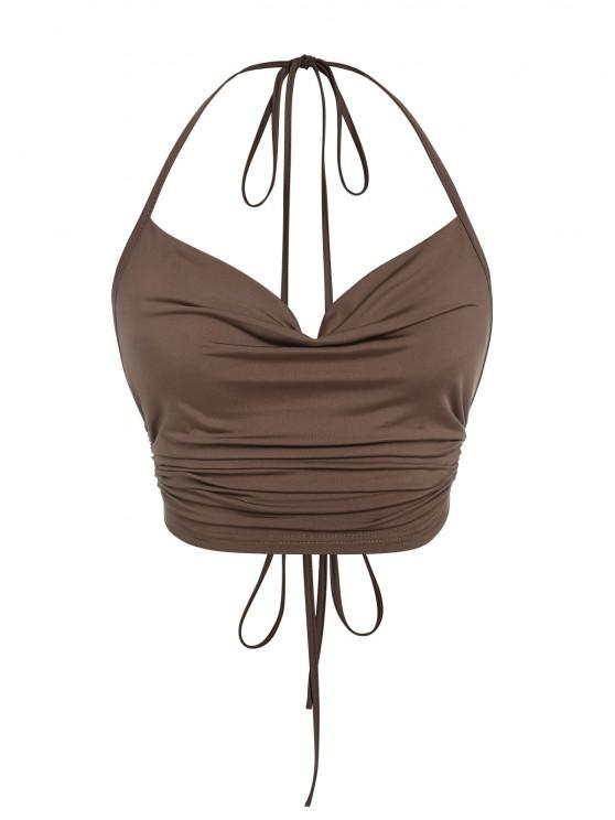 women ZAFUL Ribbed Ruched Backless Halter Top - DEEP COFFEE M