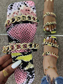 Snakeskin Print Strappy Chain Flat Sandals - Pink Eu 41