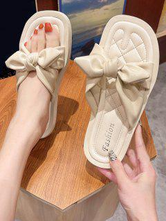 Ruched Bowknot Vamp Quilted Flat Slides - Warm White Eu 40