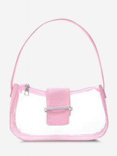 Transparent Spliced Embossed Belt Shoulder Bag - Pink