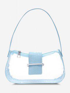 Transparent Spliced Embossed Belt Shoulder Bag - Light Blue
