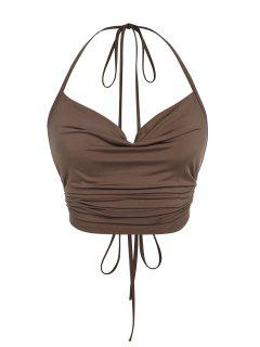 ZAFUL Ribbed Ruched Backless Halter Top - Deep Coffee S
