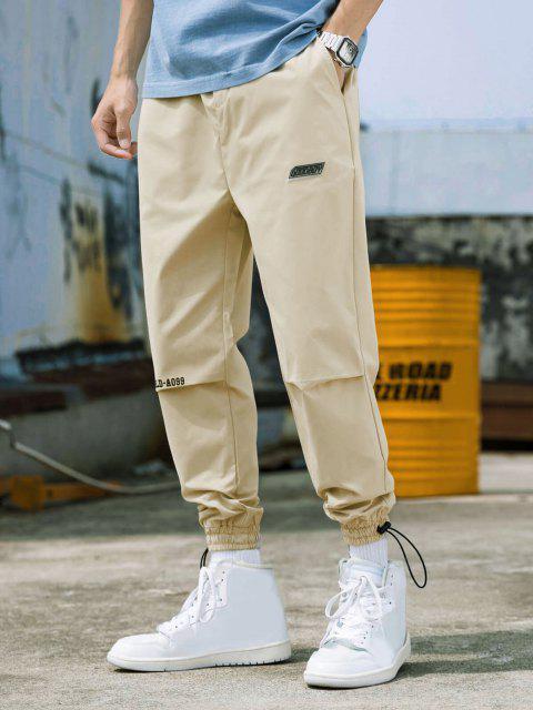 affordable Peace World Print Elastic Waist Jogger Pants - WARM WHITE M Mobile