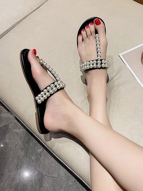 Künstliche Perle Verzierte Flache T Gurt Sandalen - Schwarz EU 37 Mobile