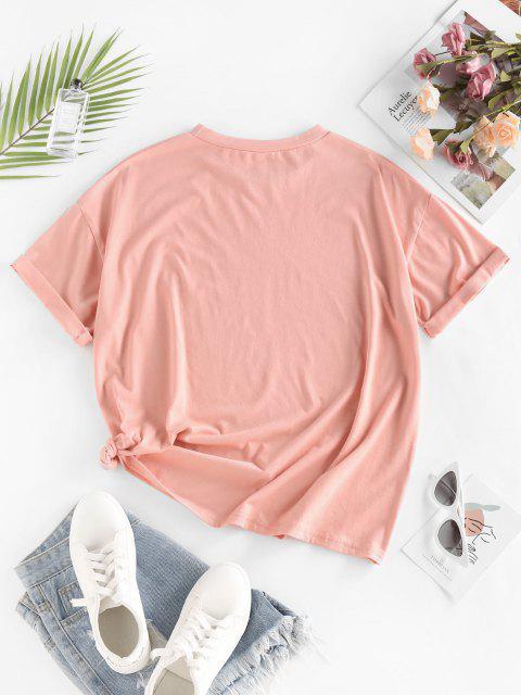 ZAFUL Moon Butterfly Print Drop Shoulder Oversized T Shirt - وردي فاتح M Mobile