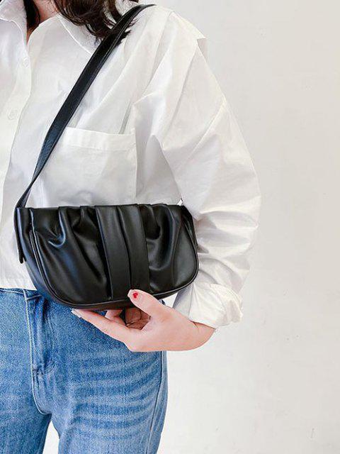 Einfarbige Geraffte Kunstleder Schultertasche - Schwarz  Mobile