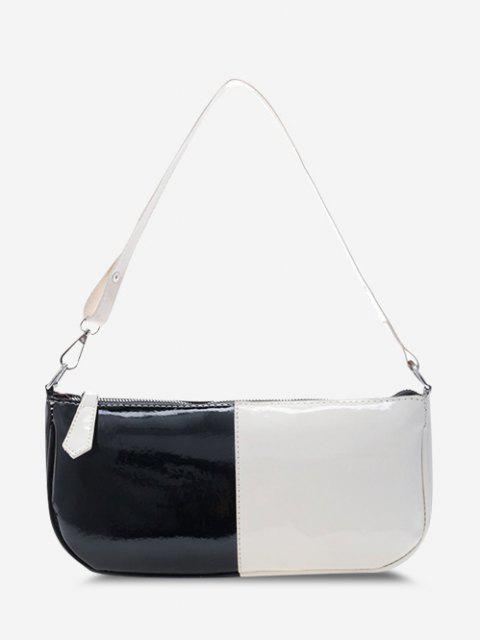 Zweifarbige Lackleder Rechteckige Umhängetasche - Schwarz  Mobile
