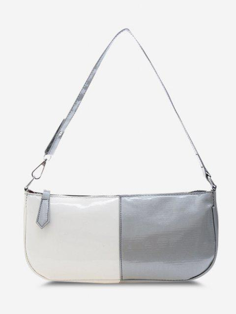 outfits Two-Tone Faux Patent Leather Rectangular Shoulder Bag - GRAY  Mobile
