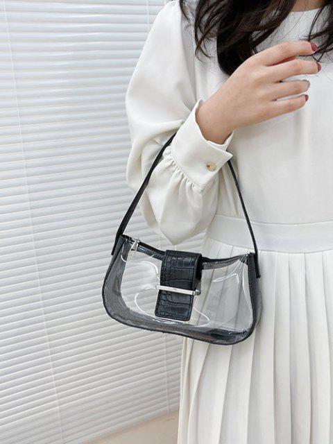 Transparente Gespleißte Geprägte Umhängetasche - Schwarz  Mobile