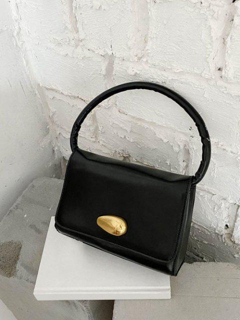 Einfarbige Pattentaschen Metall Hardware Handtasche - Schwarz  Mobile