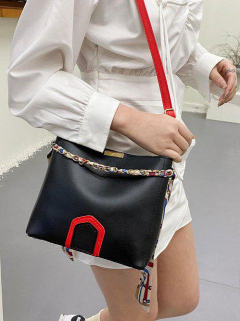 Schal mit Zwei Riemen und Bucket Tasche - Schwarz  Mobile