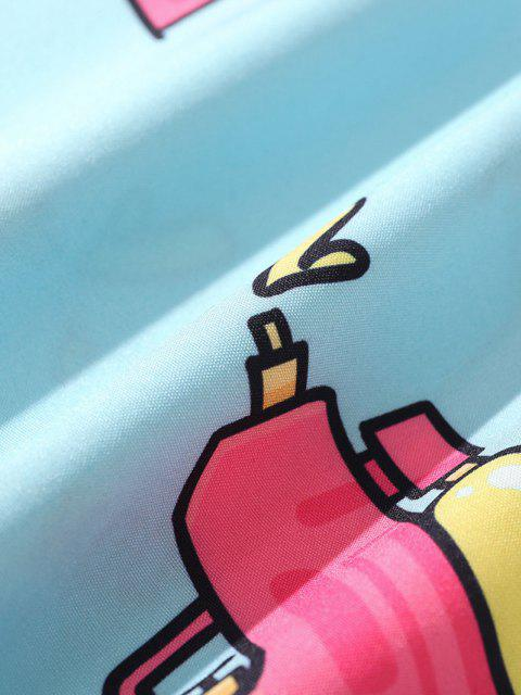 Spielzeug-Pistolen-Slogan-Kurzarm-Hemd - Dunkles Himmelblau XXL Mobile