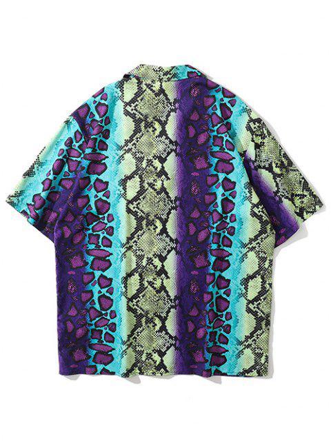 Kurzärmliges Hemd mit Schlangenhaut Aufdruck - Dunkle Orchidee XL Mobile