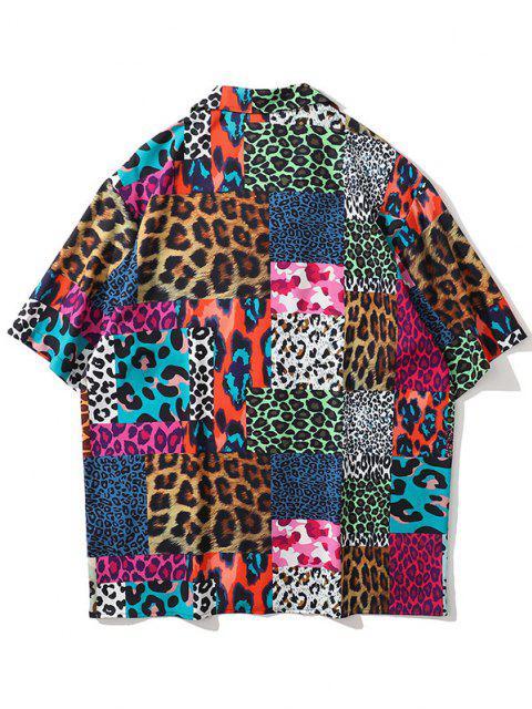 Leopard Camouflage Patchwork Kurzarm Hemd - Marinblau XXL Mobile
