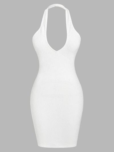 ZAFUL Ribbed Halter Backless Bodycon Dress - White M