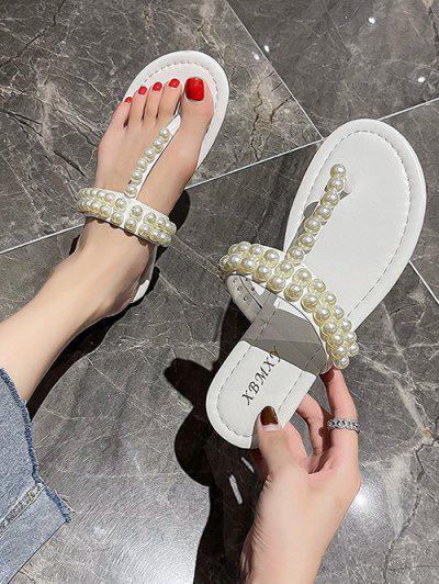 Faux Pearl Embellished Flat T-Strap Sandals - White Eu 38