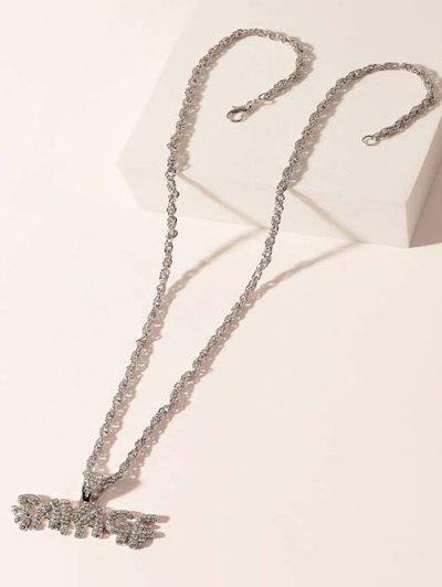 Letter Pendant Rhinestone Embellished Hip-Hop Necklace - Silver