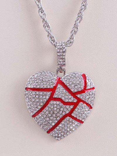 Rhinestone Cracked Heart Pendant Long Necklace - Silver