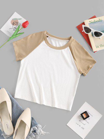ZAFUL Raglan Sleeve Colorblock Ribbed T Shirt - White M