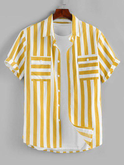 ZAFUL Stripe Print Double Pockets Shirt - Yellow L