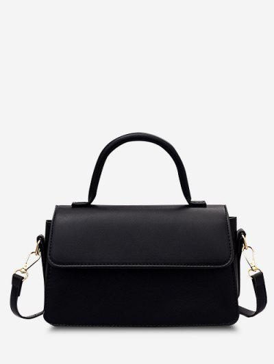 Minimalistic Top Handle Flap Crossbody Bag - Black