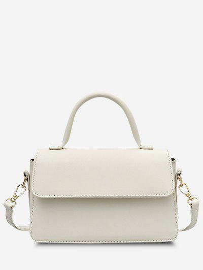 Minimalistic Top Handle Flap Crossbody Bag - White