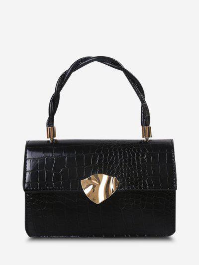 Embossed Twist Handle Chain Flap Crossbody Bag - Black