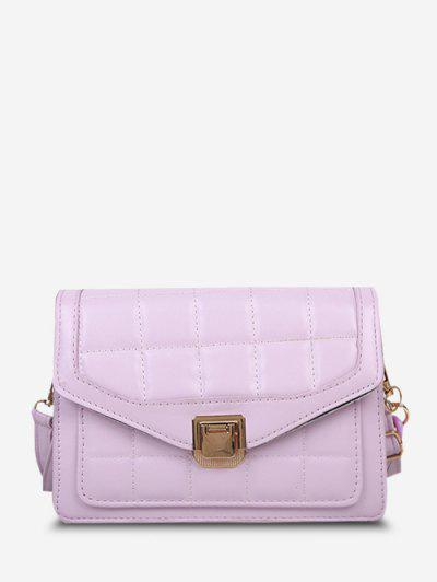 Quilted Double Strap Flap Crossbody Bag - Mauve
