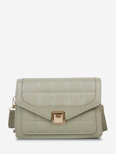 Quilted Double Strap Flap Crossbody Bag - Dark Sea Green