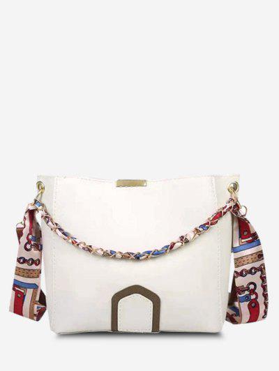 Scarf Dual Strap Crossbody Bucket Bag - White