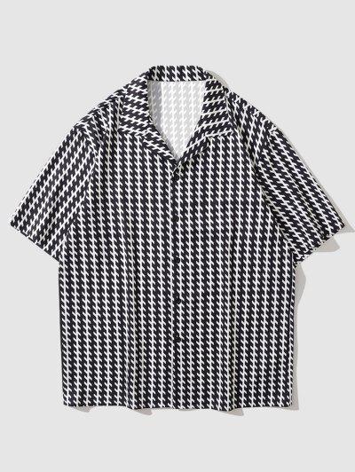 Short Sleeve Allover Print Shirt - Black L