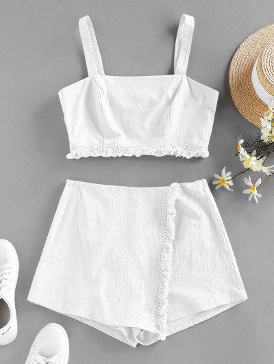ZAFUL Frayed Back Zip Overlap Shorts Set - White S