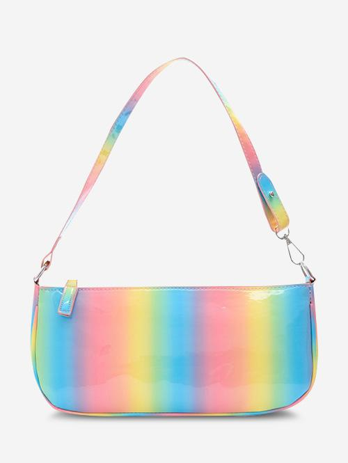 Colorful Faux Patent Leather Shoulder Bag
