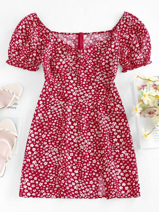 online ZAFUL Tiny Flower Print Twist Slit Mini Dress - RED S