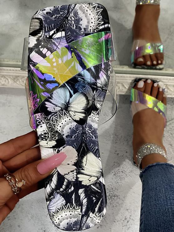 shop Cross Iridescent Strap Butterfly Print Sole Slides - GRAY EU 37